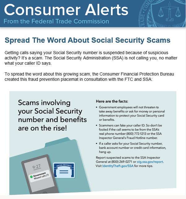 FTC warning about Social Security scams