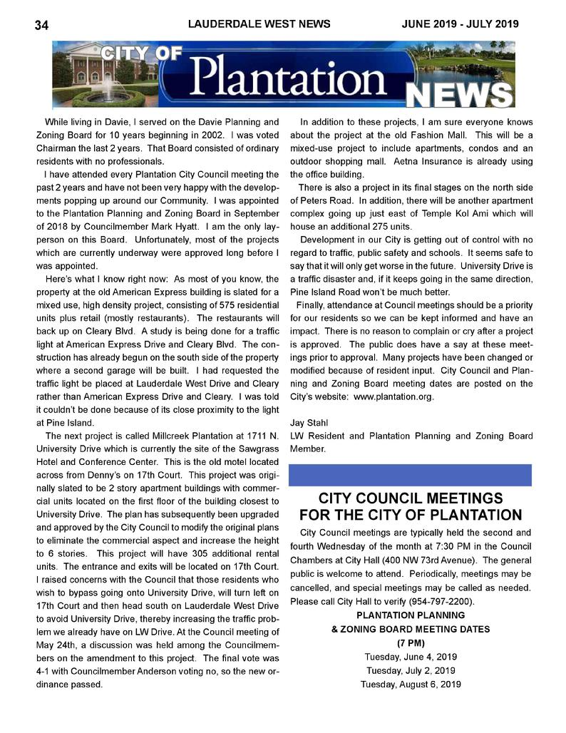 Plantation Planning & Zoning Board - Report by Jay Stahl