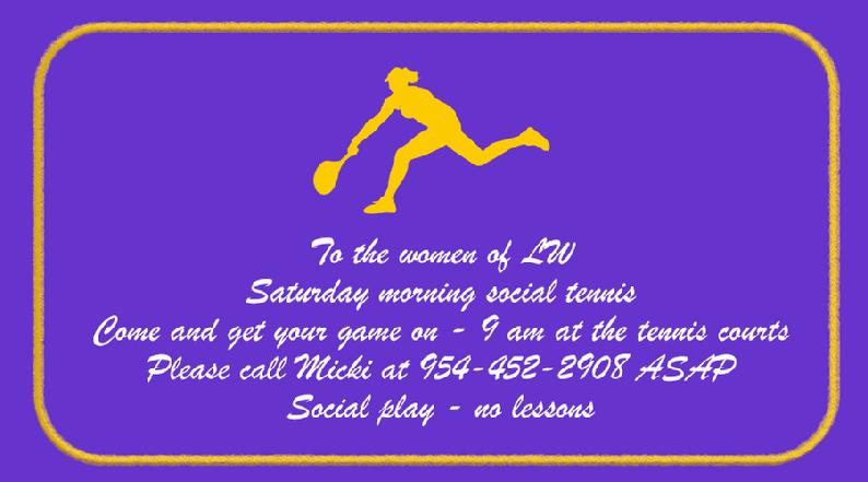 Players wanted for Saturday Woman's Social Tennis